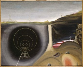 Óscar Domínguez. Souvenir de Paris (Recuerdo de París), 1932. Óleo sobre tabla, 38 x 46 cm / Con marco: 72,5 x 81 cm