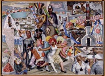 Maruja Mallo. La verbena, 1927. Óleo sobre lienzo, 119 x 165 cm / Con marco: 130 x 176,5 cm