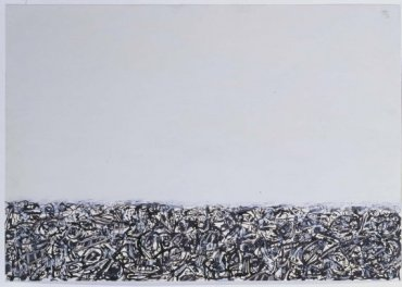 Antonio Saura. Multitud 1959. Óleo y tinta china sobre papel, 62,6 x 90,3 cm