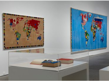 View of the exhibition hall alighiero boetti. game strategy (Museo Reina Sofía, October 2011- February 2012), with global maps tissues in Afghanistan