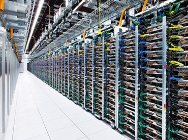 1A Google server farm used to store Big Data. Photograph, 2016