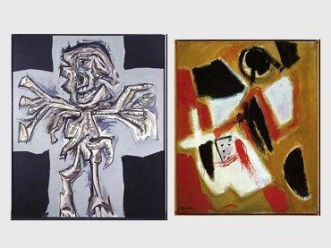 Antonio Saura. Cruciflixion, 1979 / José Guerrero. Red Land, 1955