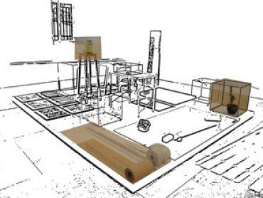 Montaje de una instalación de Joëlle Tuerlinckx
