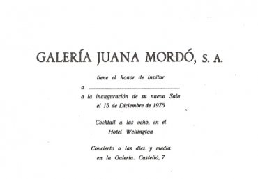 Tarjeta invitación para la inauguración de la Galería Juana Mordó de la Calle Castelló, 1975. Biblioteca y Centro de Documentación, Museo Nacional Centro de Arte Reina Sofía, Madrid
