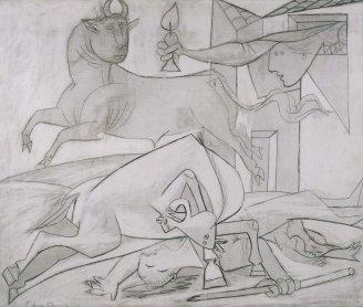 Pablo Picasso. Estudio de composición (V). Boceto para «Guernica», 1937. Pintura. Colección Museo Nacional Centro de Arte Reina Sofía, Madrid