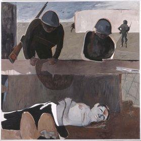 Juan Barjola. Escena de guerra I (War Scene I), 1967. Painting. Museo Nacional Centro de Arte Reina Sofía Collection, Madrid