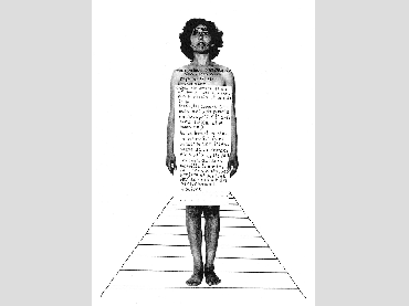 Esther Ferrer, Biografía para una exposición, 1982. Collage. Photography and ink on paper. 32,5 x 24 cm. Courtesy of the artist
