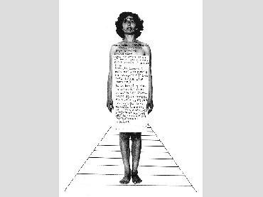 Esther Ferrer, Biografía para una exposición, 1982. Collage. Fotografía y tinta sobre papel. 32,5 x 24 cm. Cortesía de la artista