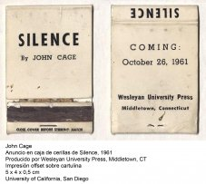 John Cage, Anuncio en caja de cerillas de Silence, 1961