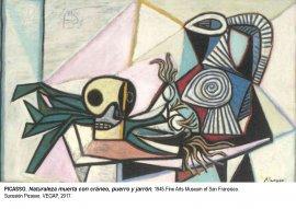 Naturaleza muerta con cráneo, puerro y jarrón.1945. Pablo Picasso.