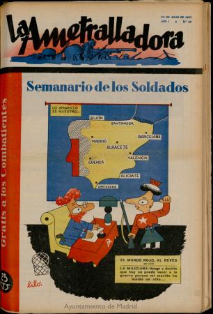 Lilo (Miguel Mihura), La Ametralladora: revista de cultura, arte, ciencia y análisis político, Salamanca, n.º 26, 25 de julio de 1937. Salamanca: Imp. La Gaceta Regional, 1937-1939. Biblioteca Digital memoriademadrid