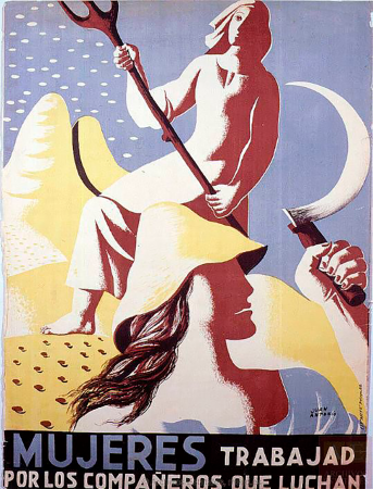 Juan Antonio Morales Ruiz, Mujeres, trabajad por los compañeros que luchan, ca. 1936-1939. España. Ministerio de Cultura y Deporte. Centro Documental de la Memoria Histórica. ARMERO,Carteles,127