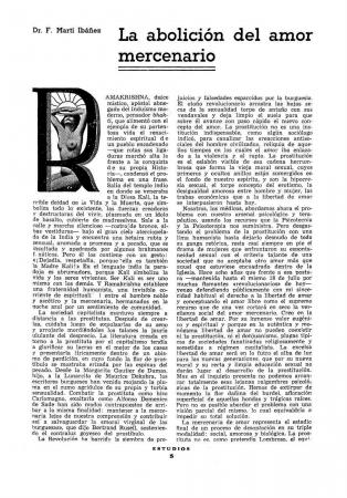 """Félix Martí Ibáñez, """"La abolición del amor mercenario"""", Estudios, n.º 162, marzo de 1937. Valencia: Estudios, [1928-1937]. Fondos del Centro de Documentación del MNCARS. Con la colaboración de la FAL y la CNT"""