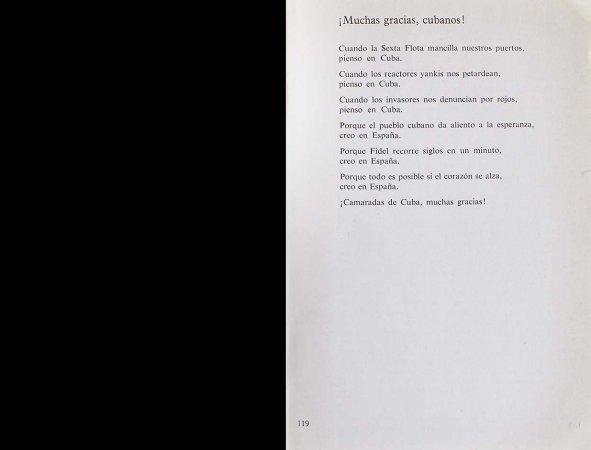 VV. AA., España canta a Cuba, París: Ruedo Ibérico, 1962, p. 119. Fondos del Centro de Documentación del Museo Nacional Centro de Arte Reina Sofía (RESERVA 4750)