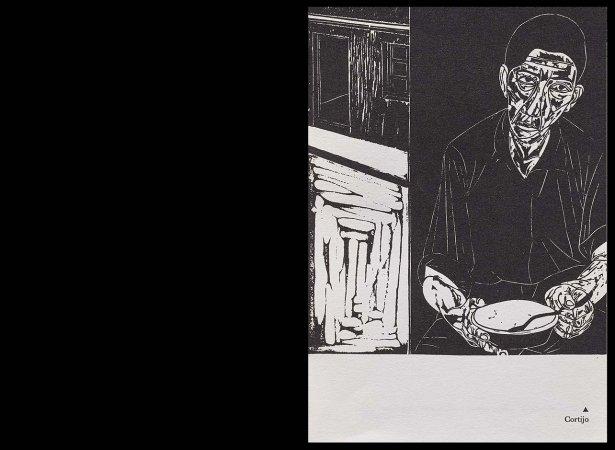 VV. AA., Versos para Antonio Machado, París: Ruedo Ibérico, 1962. Ilustración, Francisco Cortijo, s/p. Fondos del Centro de Documentación del Museo Nacional Centro de Arte Reina Sofía (RESERVA 4751)