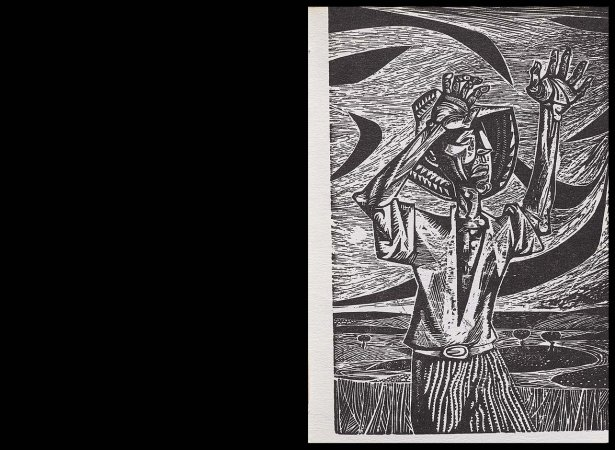 VV. AA., Versos para Antonio Machado, París: Ruedo Ibérico, 1962. Ilustración, Adán Ferrer, s/p. Fondos del Centro de Documentación del Museo Nacional Centro de Arte Reina Sofía (RESERVA 4751)