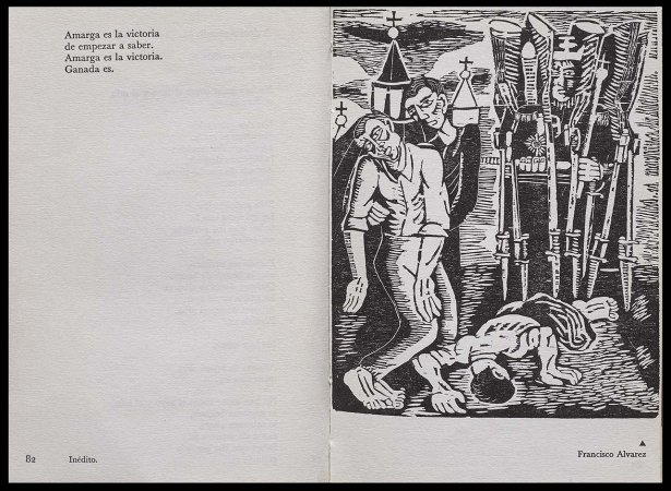 VV. AA., Versos para Antonio Machado, París: Ruedo Ibérico, 1962. Ilustración, Francisco Álvarez, p. 83. Fondos del Centro de Documentación del Museo Nacional Centro de Arte Reina Sofía (RESERVA 4751)
