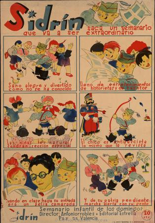"Francis Bartolozzi (""Pitti""), Sidrín saca un semanario que va a ser extraordinario, 1937. España. Ministerio de Cultura y Deporte. Centro Documental de la Memoria Histórica. PS-CARTELES,74"