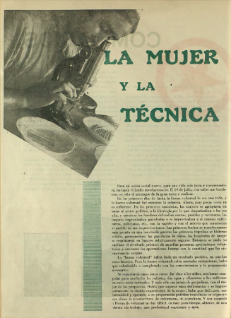 """""""La mujer y la técnica"""", Mujeres libres, n.º 12, mayo de 1938. Madrid / Barcelona: Mujeres Libres, 1936-1938. Imágenes cedidas por la Confederación General del Trabajo – CGT. Con la colaboración de la FAL y la CNT"""
