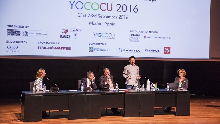 Opening, Pablo Jiménez (Mapfre), Joao Fernandes (Museo Nacional de Arte Reina Sofía), Andrea Macchia (YOCOCU), Natalia Pérez (YOCOCU España) and Mónica Álvarez (YOCOCU 2016)