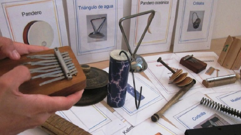 Unconventional musical instruments used in the workshop