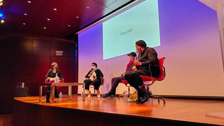 Jornada del encuentro Entre tantas, 2021. En la imagen (de izquierda a derecha): Susana Moliner, Safaa Erruas, Younes Rahmoun y Karim Rafi. Fotografía: Celia Maldonado