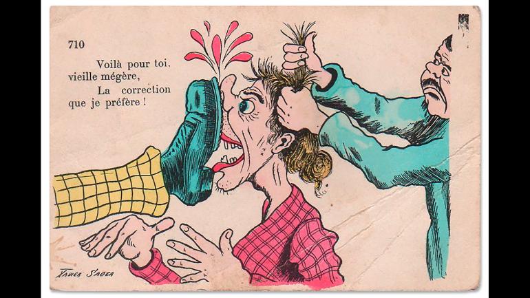 Xavier Sager, Voila pour toi, vieille mégère. La correction que je prefere! (This Is for You, You Old Hag. My Punishment of Choice!), n.d.