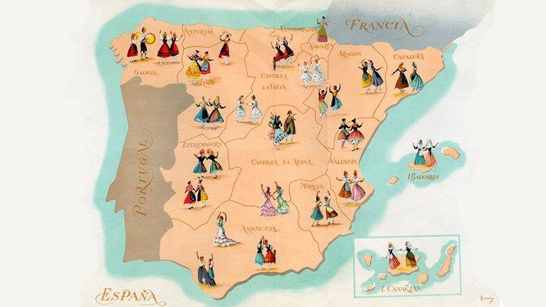 Ricardo Summers Isern.Ilustración del programa Canciones y Danzas de España. Sección Femenina de Falange Española Tradicionalista y de las JONS, Madrid, 1953