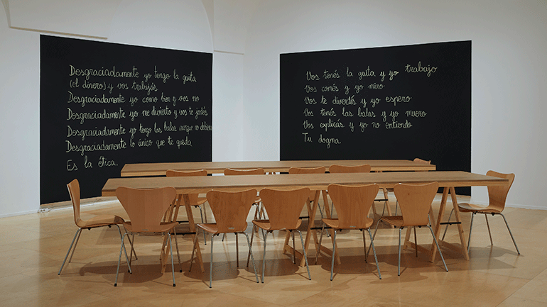 View of the exhibition Luis Camnitzer.  Hospice of Failed Utopias, 2018. Museo Reina Sofía