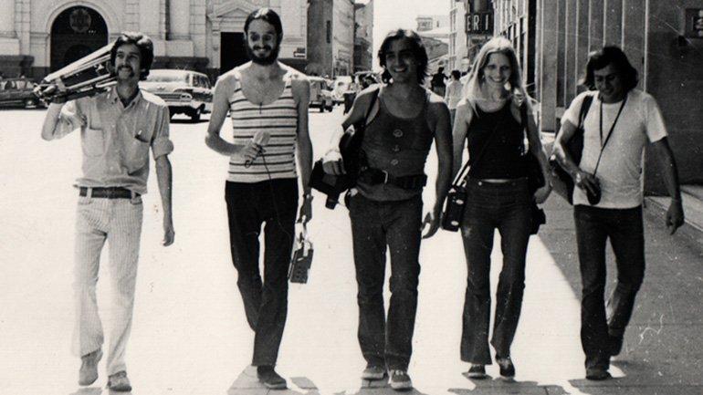 The Grupo de Cali in Plaza de Caycedo. Luis Ospina Archive