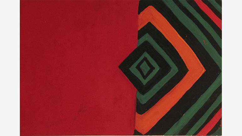 Teresa Lanceta. Gouache on paper belonging to The Red Rug project, 32.5 x 23 cm, 1987–1989
