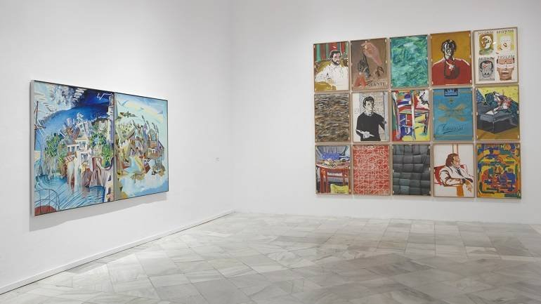 Vista de sala de la exposición. Los Esquizos de Madrid. Figuración madrileña de los 70, 2009