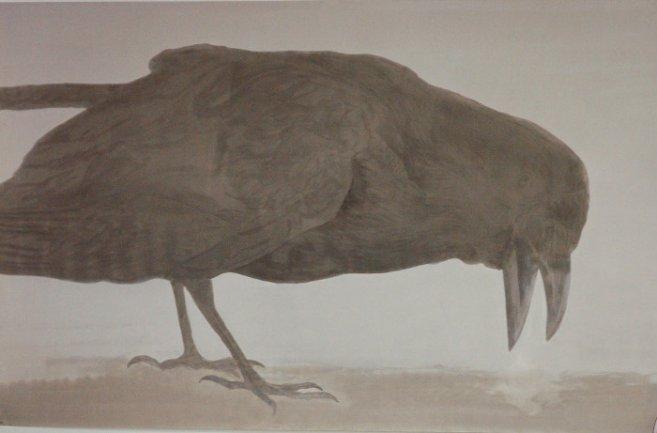 Elly Strik. Hijgende Kraai (Panting Crow), 1992. Oil, lacquer on paper. 201 x 319 cm. Collection Van AbbeMuseum, Eindhoven