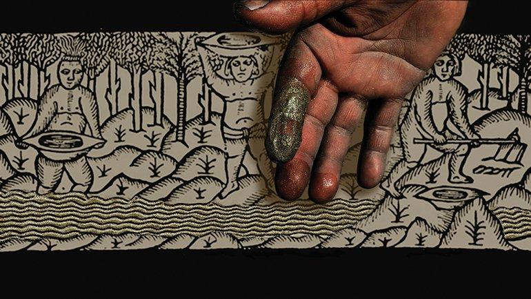 Indios lavando oro. Grabado del cronista Gonzalo Fernández de Oviedo y Valdés en Historia general y natural delas Indias, isla y tierra-firme del mar océano. Archivo Mapa Teatro