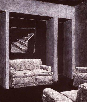 Juan Muñoz, Raincoat Drawing, 1992-1993. Tiza y óleo sobre tela impermeable. 125 x 102,5 cm. Depósito temporal de la Fundación ICO