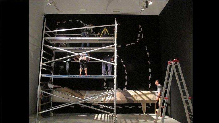 Preparación de los andamios para el montaje