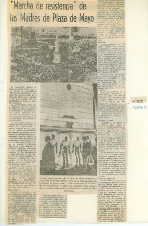 """Artículo sobre la """"Marcha de la Resistencia"""" de la Madres de Plaza de Mayo. Buenos Aires (22/9/83). Derechos Humanos // Archivo en uso"""