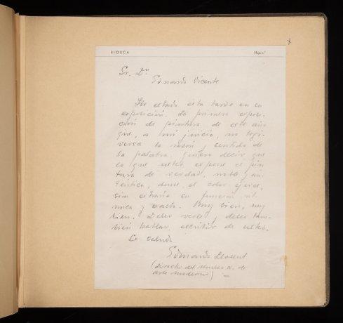 Carta manuscrita de Eduardo Llorent a Eduardo Vicente. 1941. Álbum 1941-1943. Archivo Biosca. Centro de Documentación