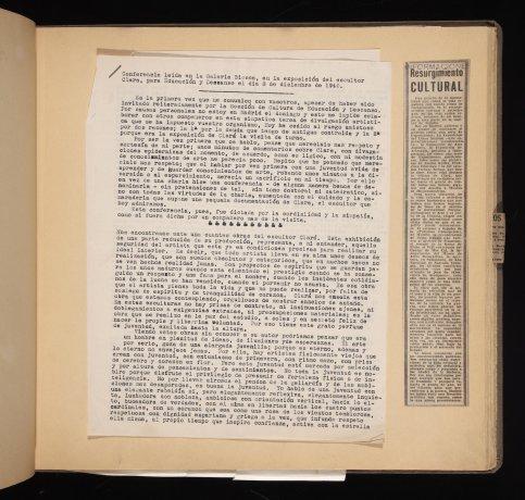 Conferencia de José Prados López leída en la exposición de J. Clará, 1940. Álbum 1940-1941. Archivo Biosca. Centro de Documentación