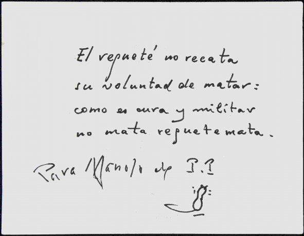 Poema de José Bergamín dirigido a Manuel Ángeles Ortiz (1966?). Archivo Manuel Ángeles Ortiz. Centro de Documentación