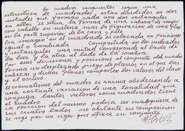 Manuscrito autógrafo de Manuel Ángeles Ortiz. Archivo Manuel Ángeles Ortiz. Centro de Documentación