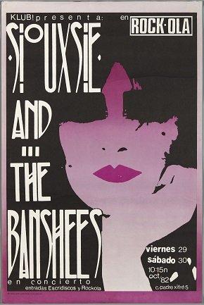 Siouxie & The Banshees (1982). Diseño: Pepo Perandones. Archivo Carteles de la Sala Rock-ola / Lorenzo Rodríguez. Centro de Documentación