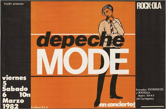 Depeche Mode (1982). Diseño: Pepo Perandones. Archivo Carteles de la Sala Rock-ola / Lorenzo Rodríguez. Centro de Documentación