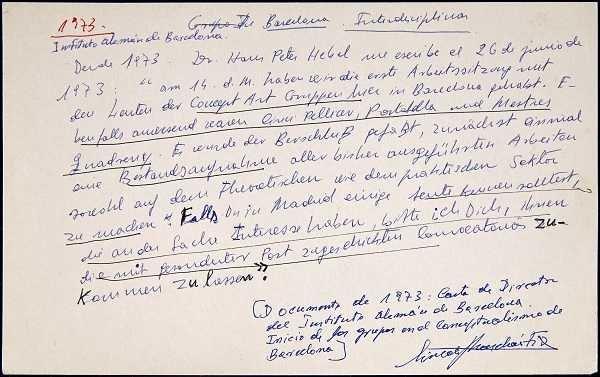 Anotación de Simón Marchán sobre las actividades del Instituto Alemán de Barcelona (1973). Archivo Marchán/Quevedo. Centro de Documentación