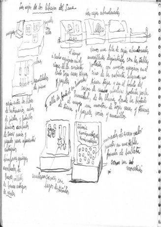 """Las cajas de los libreros del Sena. Cuaderno de notas """"Chartres y el Sena"""". 1938. Archivo Solana. Centro de Documentación"""