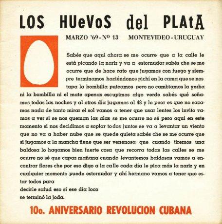 Tapa de Los Huevos del Plata nº 13, Montevideo, marzo de 1969. Archivo Clemente Padín (UDELAR, Montevideo)
