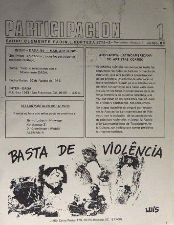 Tapa de Participación nº 1, Montevideo, junio de 1984. Archivo Clemente Padín (UDELAR, Montevideo)