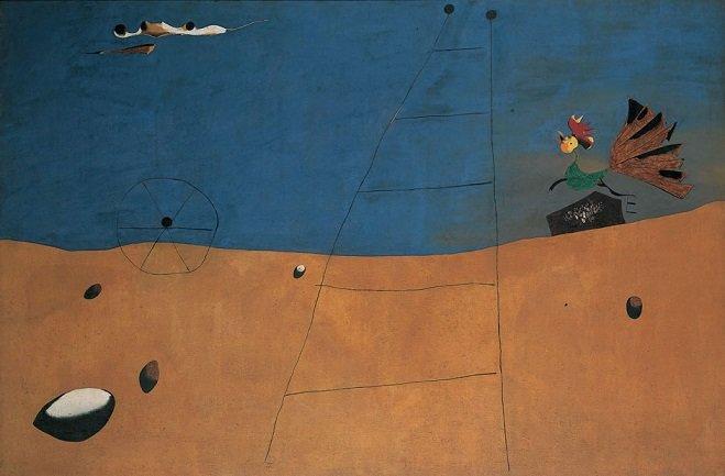 Joan Miró. Paysage (Paysage au coq) [Landscape (Landscape with Rooster)], 1927. Oil on canvas 131 x 196,5 cm Fondation Beyeler, Riehen/Basel. Beyeler collection Photo : Robert Bayer, Basel