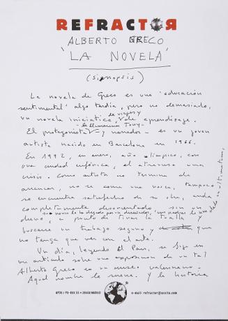 Quico Rivas. Alberto Greco, La novela (sinopsis). Manuscrito (fragmento). Archivo Quico Rivas. Centro de Documentación