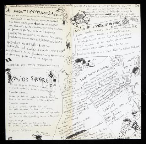 """Hoja interior del maxi single ¡NO! de Larsen (1983). Dibujos de José Luis Rodríguez """"Pollo"""". Archivo Quico Rivas. Centro de Documentación"""